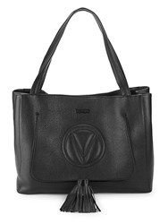 Valentino By Mario Valentino Ollie Logo Leather Tote Black