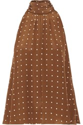 Diane Von Furstenberg Polka Dot Silk Crepe De Chine Blouse Brown