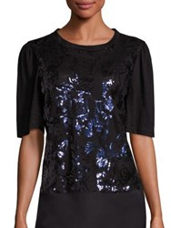 Rebecca Taylor Linen Sequin Top Black Navy