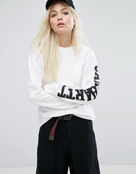 Carhartt Wip Oversized Long Sleeve T Shirt With Sleeve Text 0290 White Black