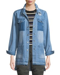 Etienne Marcel Distressed Snap Front Denim Shirt Blue