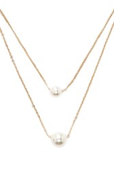 Forever 21 Faux Pearl Necklace Set Gold Cream