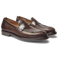 Officine Creative Ivy Burnished Leather Penny Loafers Dark Brown