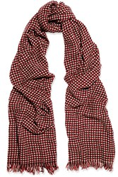Etoile Isabel Marant Frayed Wool And Cashmere Blend Scarf Burgundy