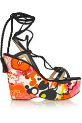 Jimmy Choo Pearl Floral Print Faille Leather And Suede Wedge Sandals Black