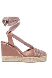 Castaner Cersei Velvet Trimmed Satin Wedge Espadrilles Antique Rose