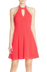 Women's Amanda Uprichard 'Cecily' Keyhole Halter Crepe Fit And Flare Dress