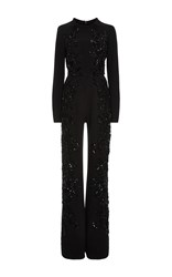 Elie Saab Embroidered Long Sleeve Jumpsuit Black