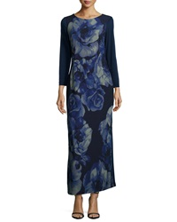 Melissa Masse Rosette Print Long Sleeve Maxi Dress