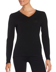 Lord And Taylor Merino Wool V Neck Sweater Black