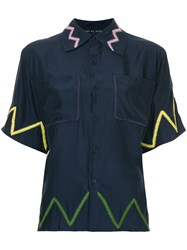 Jupe By Jackie Embroidered Zig Zag Shirt Blue
