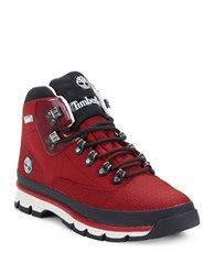 Timberland Euro Hiker Ankle Boots Red