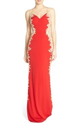 Women's Jvn By Jovani Embellished Sheer Back Gown