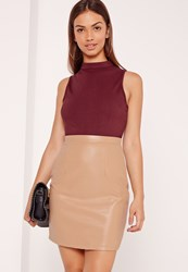 Missguided Faux Leather Bodycon Contrast Mini Dress Nude