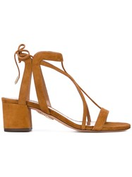 Aquazzura Tie Back Sandals Women Leather Calf Suede 38 Brown