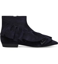 J.W.Anderson Ruffle Bicolour Suede Ankle Boots Navy