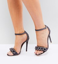 Lost Ink Wide Fit Light Grey Chain Detail Heeled Sandals Light Grey