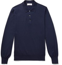 Brunello Cucinelli Knitted Cotton Polo Shirt Navy