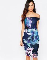 Jessica Wright Lora Floral Print Off Shoulder Pencil Dress Navy Floral