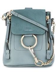 Chloe Faye Backpack Calf Leather Calf Suede Cotton Blue