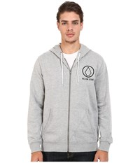 Volcom Stray Dog Zip Hoodie Heather Grey Men's Sweatshirt Gray