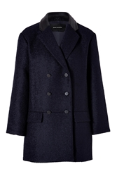 Tara Jarmon Wool Blend Pea Coat In Navy Blue