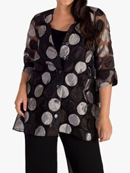 Chesca Sheer Organza Long Shirt Black Silver