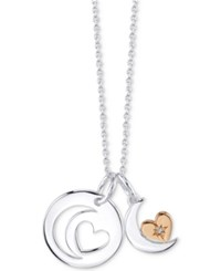Unwritten Crystal Two Tone Moon And Heart Pendant Necklace In Rose Gold Flashed Sterling Silver 16 2 Extender