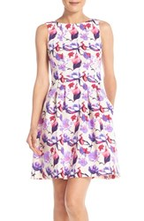Women's Gabby Skye Floral Burnout Scuba Fit And Flare Dress