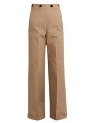 Jil Sander Carlo Wide Leg Panama Trousers Brown