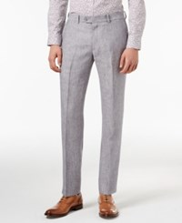 Bar Iii Light Gray Chambray Slim Fit Pants