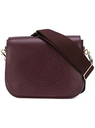 Anya Hindmarch Perforated Smile Icon Shoulder Bag Red