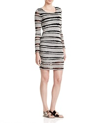 Red Haute Burnout Striped Jersey Dress Cement