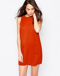 Ax Paris Shift Dress With Pockets Rust