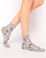 Asos Farm Animal Ankle Socks Grey