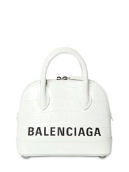 Balenciaga Xxs Ville Croc Embossed Leather Bag White