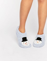 New Look Christmas Snowman Slipper Boot Mid Blue
