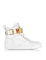 Moschino Optic White Leather High Top Sneakers W Multicolor Signature Logo