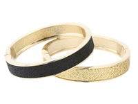 Betsey Johnson Classic Boost Black And Gold Duo Hinged Bangle Black Bracelet