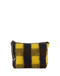 Kelsi Dagger Commuter Plaid Evening Clutch Bag Yellow Black