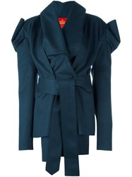 Vivienne Westwood Red Label Structured Asymmetric Mid Length Coat Blue