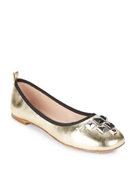 Marc Jacobs Studded Metallic Leather Ballet Flats Gold