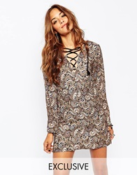 Milk It Vintage Smock Dress With Lace Front Detail In Paisley Floral Brown
