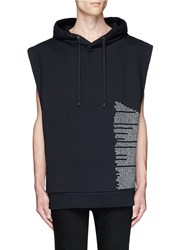 Public School 'Aderman' Text Print Sleeveless Hoodie Black