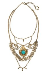 Women's Bp. Stone And Fringe Statement Necklace