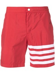 Thom Browne Snap Front Swim Short In Solid Swim Tech W 4 Bar Print Red