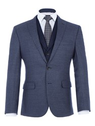 Baumler Men's Udo Wool Slim Fit Micro Checked Jacket Blue