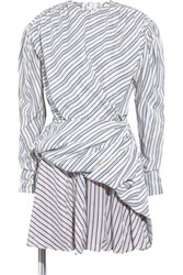 Balenciaga Gathered Wrap Effect Striped Jacquard Mini Dress Blue