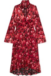Mother Of Pearl Adelaide Ruffled Floral Print Velvet Trimmed Silk Charmeuse Dress Red