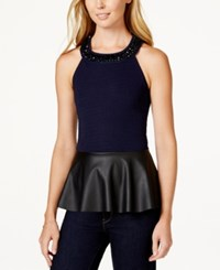 Stoosh Juniors' Embellished Faux Leather Peplum Top